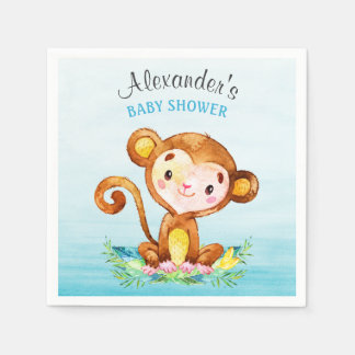 Watercolor Monkey Boy Baby Shower Paper Serviettes