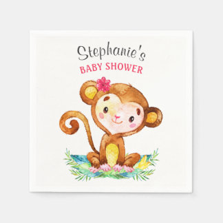Watercolor Monkey Girl Baby Shower Disposable Serviette