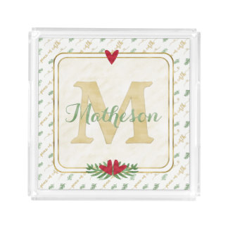 Watercolor Monogram Green and Gold Typography Acrylic Tray