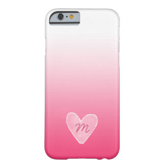 Watercolor Monogram Heart | Pink and White Ombre Barely There iPhone 6 Case