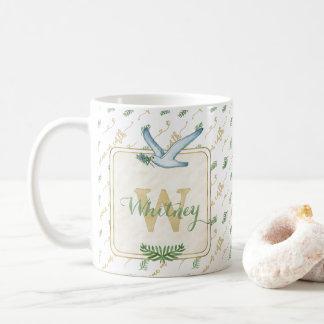 Watercolor Monogram Peace on Earth Gold Typography Coffee Mug