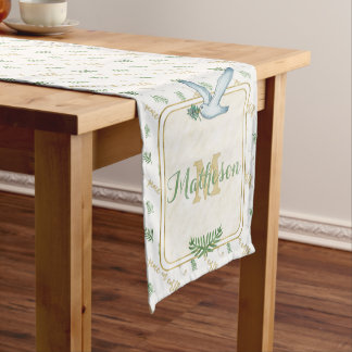 Watercolor Monogram Peace on Earth Gold Typography Short Table Runner
