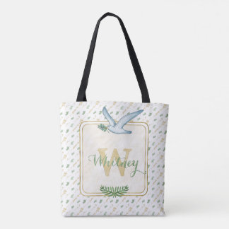 Watercolor Monogram Peace on Earth Gold Typography Tote Bag