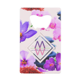 Watercolor Monogram Saffron and Orchid Flowers Zen