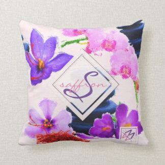 Watercolor Monogram Saffron and Orchid Flowers Zen Cushion