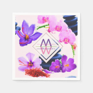 Watercolor Monogram Saffron and Orchid Flowers Zen Disposable Napkin