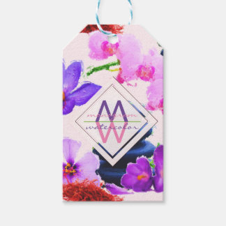 Watercolor Monogram Saffron and Orchid Flowers Zen Gift Tags