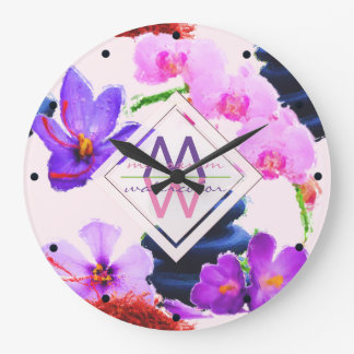Watercolor Monogram Saffron and Orchid Flowers Zen Large Clock