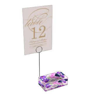 Watercolor Monogram Saffron and Orchid Flowers Zen Table Number Holder