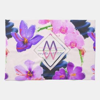 Watercolor Monogram Saffron and Orchid Flowers Zen Tea Towel