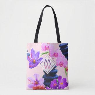 Watercolor Monogram Saffron and Orchid Flowers Zen Tote Bag