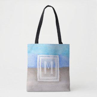 Watercolor Monogram Sea & Sand Blue and Tan Tote Bag