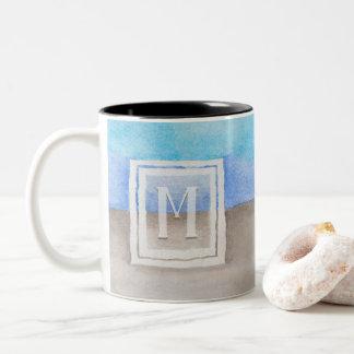 Watercolor Monogram Sea & Sand Blue and Tan Two-Tone Coffee Mug