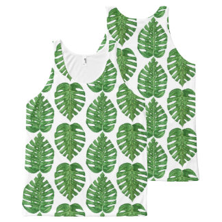 Watercolor Monstera Leaves All-Over Print Singlet