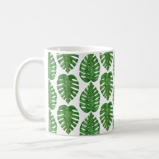 Watercolor Monstera Leaves Coffee Mug