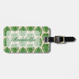 Watercolor Monstera Leaves Luggage Tag