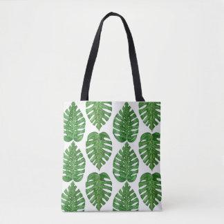 Watercolor Monstera Leaves Tote Bag