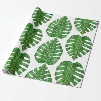 Watercolor Monstera Leaves Wrapping Paper
