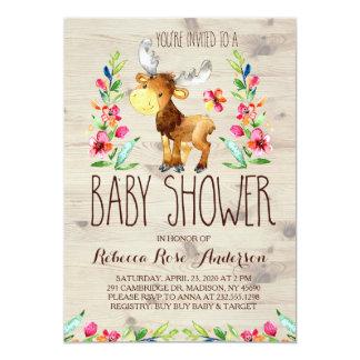 Watercolor Moose Woodland Baby Shower Invitation