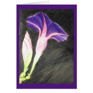 Watercolor morning glory flower greeting card