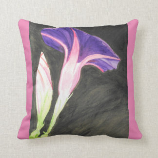 Watercolor morning glory flower throw cushions
