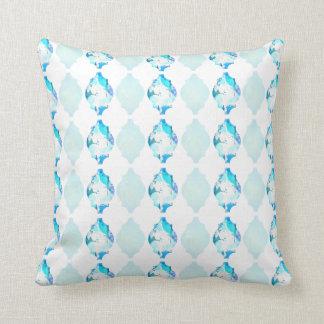 Watercolor Moroccan Tile Inspired Throw Pillow