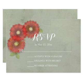 Watercolor Moss Green Red Flowers RSVP Card