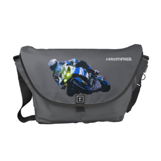 Watercolor Motorcycle Rider Circle Racing Sketch Courier Bag