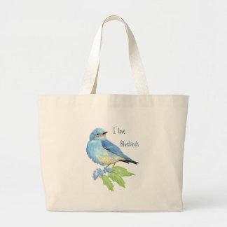 Watercolor Mountain Bluebird Blue Bird Art for the Jumbo Tote Bag