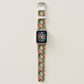 Watercolor  mushrooms and green fern pattern apple watch band