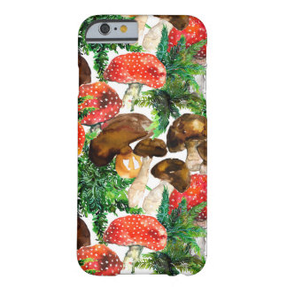 Watercolor  mushrooms and green fern pattern barely there iPhone 6 case