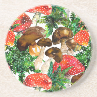 Watercolor  mushrooms and green fern pattern coaster