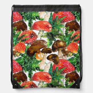 Watercolor  mushrooms and green fern pattern drawstring bag