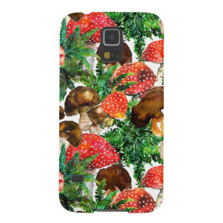 Watercolor  mushrooms and green fern pattern galaxy s5 cover