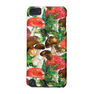 Watercolor  mushrooms and green fern pattern iPod touch (5th generation) case