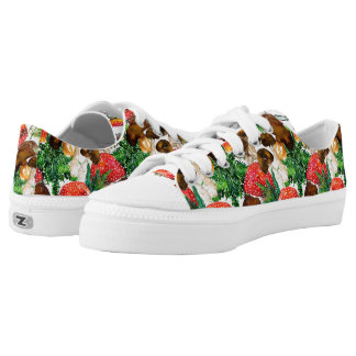Watercolor  mushrooms and green fern pattern low tops