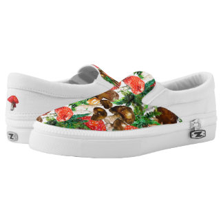 Watercolor  mushrooms and green fern pattern Slip-On shoes