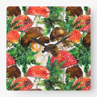 Watercolor  mushrooms and green fern pattern square wall clock