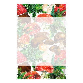 Watercolor  mushrooms and green fern pattern stationery