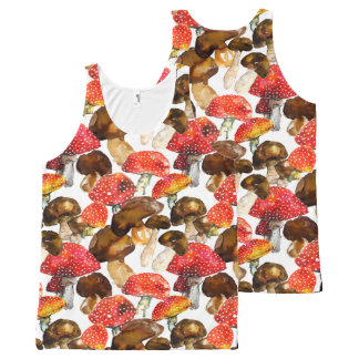 Watercolor mushrooms Cute fall pattern All-Over Print Singlet