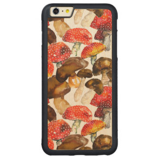 Watercolor mushrooms Cute fall pattern Carved Maple iPhone 6 Plus Bumper Case
