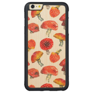 Watercolor mushrooms Cute fall pattern Carved Maple iPhone 6 Plus Bumper Case