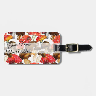 Watercolor mushrooms Cute fall pattern Luggage Tag