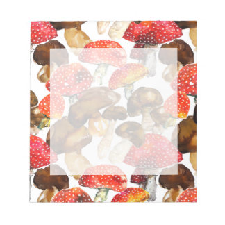 Watercolor mushrooms Cute fall pattern Notepad