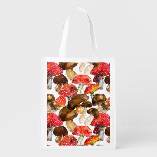 Watercolor mushrooms Cute fall pattern Reusable Grocery Bag
