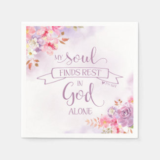 Watercolor My Soul Finds Rest, Ps 62:1 Disposable Napkin