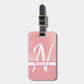 Watercolor Name Monogram Pink Luggage Tag