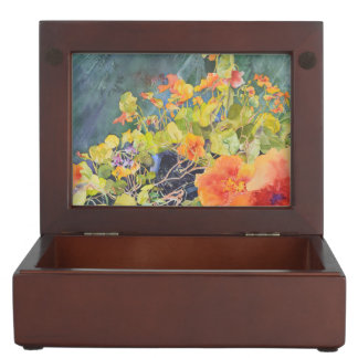 Watercolor Nasturtium Garden Keepsake Box