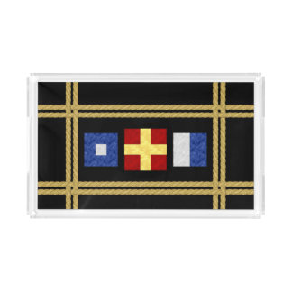 Watercolor Nautical Maritime Signal Flag Monogram Acrylic Tray