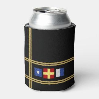Watercolor Nautical Maritime Signal Flag Monogram Can Cooler